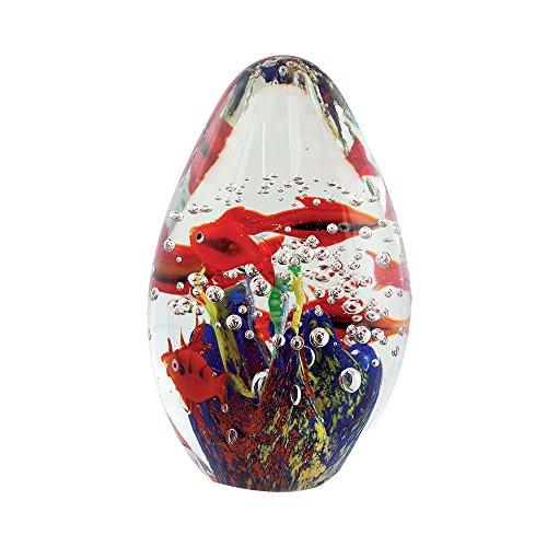 (Handmade Art Glass Egg Aquarium Paperweight Figure)