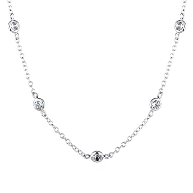 Bling Jewelry CZ Diamonds by the Yard Sterling Silver Gold Vermeil Necklace N6paYk