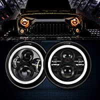 7 Inch Cree LED Headlights with White Halo Ring Angel Eyes+Amber Turn Signal Halo For Jeep Wrangler JK TJ CJ