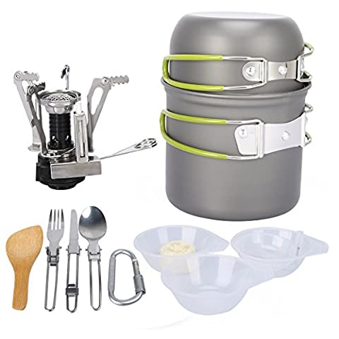 G4Free Outdoor Camping pan Hiking Cookware Backpacking Cooking Picnic Bowl Pot Pan Set 4 Piece Camping Cookware Mess Kit(13 (Outdoor Cooking)