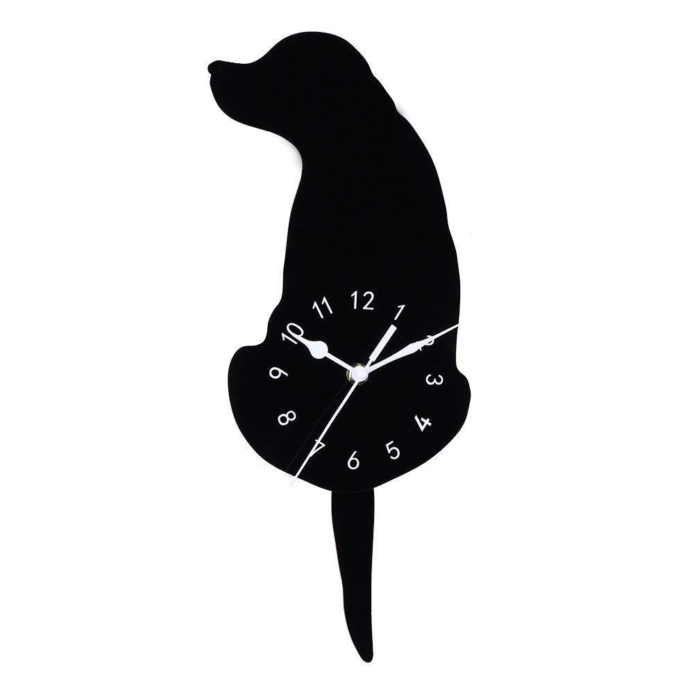 Barthylomo Acrylic Creative Cartoon Cute Black Dog Wall Clock Home Decor Watch Way Tail Move Silence