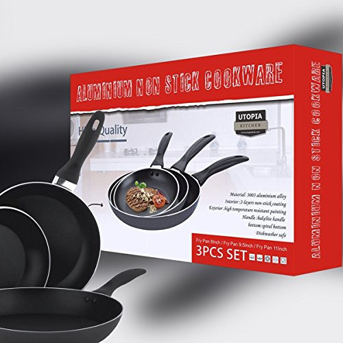 Aluminum Nonstick Frying Pan Set - (3-Piece 8 Inches, 9.5 Inches, 11 Inches) - Fry Pan / Frying pan Cookware Set, Dishwasher Safe - by Utopia Kitchen by Utopia Kitchen (Image #1)