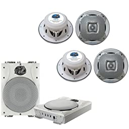 Lanzar Marine Amp Woofer and Speaker Package - AQTB8 8\'\' 1000 Watts Low-Profile Super Slim Active Amplified Marine/Waterproof Subwoofer System - 2x AQ6CXS 2 400 Watts 6.5\'\' 2-Way Marine Speakers (Silver Color)