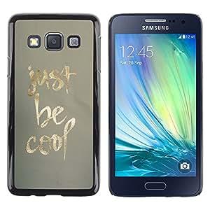iKiki Tech / Estuche rígido - Be Cool Just Gold Fabric Pattern Minimalist - Samsung Galaxy A3 SM-A300