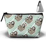 Jingclor Portable Trapezoidal Storage Pouch Cute Sloth with Christmas Hat Cosmetic Bags Travel Toiletry Zipper Pencil Holders