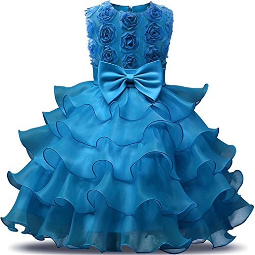 Blue Ruffle Girls Dress (Niyage Girls Party Dress Princess Flowers Ruffles Lace Wedding Dresses Toddler Baby Pageant Tulle Tutus 18-24 M Blue)