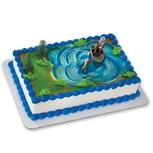 Fisherman with Action Fish DecoSet Cake Decoration: Amazon