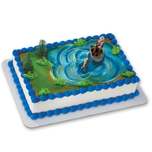 Fisherman with Action Fish DecoSet Cake Decoration ()