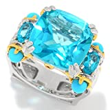 Michael Valitutti Palladium Silver Paraiba Color Topaz & Sleeping Beauty Turquoise Ring