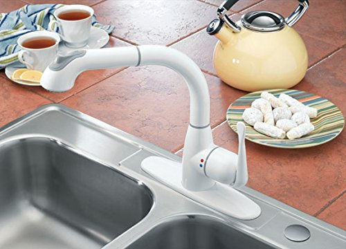 CLEANFLO 8811, Pull Out Kitchen Faucet, 1-3 Hole Installation, High 11.5 INCH-Arc Spout, 1 Handle, 2 Spray Settings, Advanced Polymer Materials, Lead-Free, Non Corrosive, White Finish by CleanFLO (Image #5)
