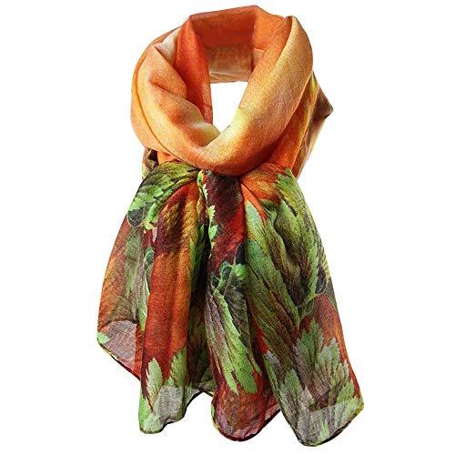 (CHIDY Scarves Women Printing Long Soft Paris Yarn Scarf Wrap Shawl Stole Pashmina Scarves(Orange))