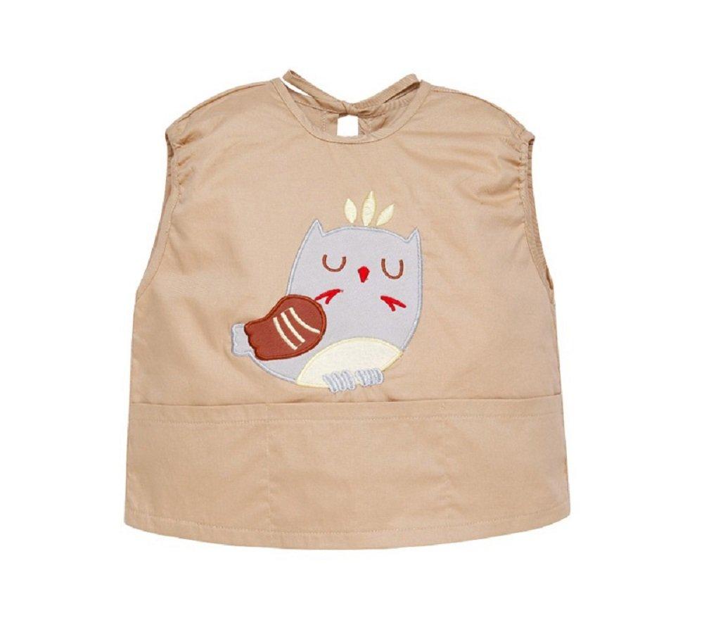 Bebé Niños Niñas Baberos Impermeable Sin Mangas Delantales de Pintura Blusón Con Bolsillo De Comer Jugar Caqui pájaro-90 DEBAIJIA