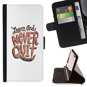BullDog Case - FOR/Samsung Galaxy S4 Mini i9190 / - / NEVER QUIT LEARN STUDY WHITE PINK /- Monedero de cuero de la PU Llevar cubierta de la caja con el ID Credit Card Slots Flip funda de cuer