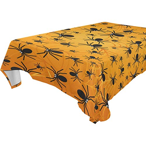 My Little Nest Square Tablecloth Halloween Spiders Washable Fabric Table Cover for Picnic Party KitchenDiningDecor 60x60 inch -