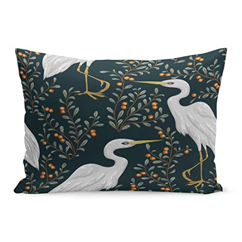 Semtomn Throw Pillow Covers Colorful Marsh Heron Bird and Cranberry Plant Rustic Botanical Vintage in Watercolor Scene Pillow Case Cushion Cover Lumbar Pillowcase for Couch Sofa 20 x 30 inchs