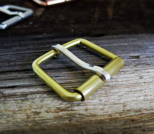 1 1/2 Inch Handmade Solid Brass Belt Buckle-End Bar Roller Buckle w/Solid.925 Sterling Prong