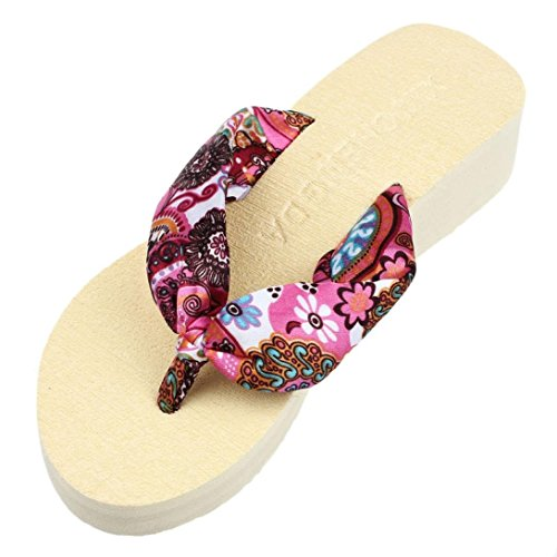 Deesee (tm) Wedge Platform Thong Slippers Sandalen Schoenen Beach Casual Slippers Beige