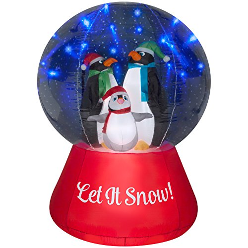 Airblown Inflatable Snow Globe w/Glimmer LED Penguin Family Scene 5ft tall by Gemmy Industries by Airblown Inflatable (Image #1)