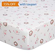 Printed Fitted Crib Sheet Woodland Pink Elephant Giraffe Element, 100% Cotton Value Jersey Knit Fitted for Standard Crib and Toddler Mattresses / Toddler Bed Sheet - 28 x52