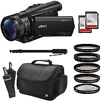 Sony FDR-AX100 4K Ultra HD Camcorder Video Camera Kit, 128GB Memory + Pro Monopod + Bag + UV CPL FL ND4 10x Filter Set