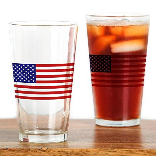 CafePress American Flag Pint Glass Pint Glass, 16 oz. Drinking Glass