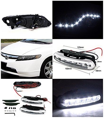 Honda Civic 4 Dr, Black R8 Style Led Strip Projector Headlights, Led Drl Pair