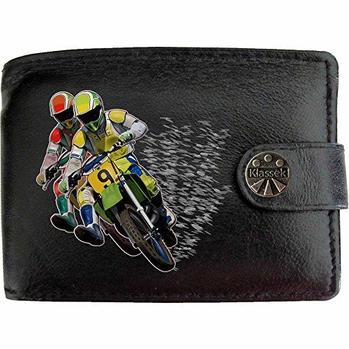 Motocross Twin Riders Motocross Zwei Fahrräder und Reiter Klassek Herren Geldbörse Portemonnaie Brieftasche Moto Auto Sport aus echtem Leder schwarz Geschenk Präsent mit Metall Box