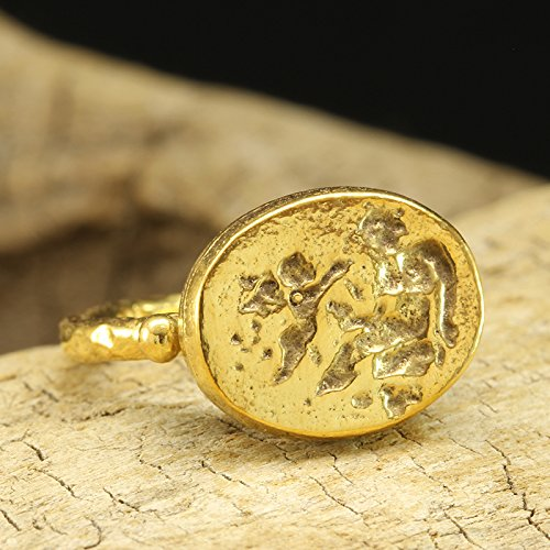 Ancient Greek Art Signet Coin Ring 925 Sterling Silver 24K Yellow Gold Vermeil Handcrafted Hammered Artisan Roman Art Granulated Jewelry