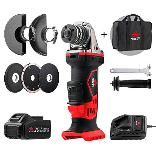 NoCry 4 1/2 Cordless Angle Grinder Kit - 10,000 RPM Max Speed; 20V 4.0 Ah Lithium Ion Battery, Fast Charger, Carrying Case and 7 Accessories Included
