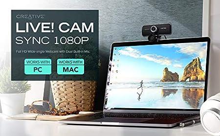 Creative Live Webcam grandangolare Full HD con doppio microfono incorporato Cam Sync 1080p