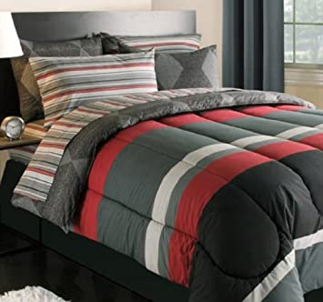 Amazon.com: Black Gray Red Stripes Boys Teen Queen Comforter Set ...