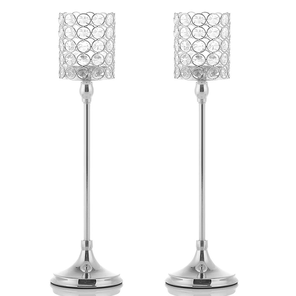 VINCIGANT 2PCS 18 Inches Silver Crystal Tea Light Candle Holders for Coffee Table Decorative Centerpiece,Gift for Anniversary Wedding Housewarming
