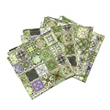 Roostery Tile Grout Linen Cotton Dinner Napkins Wisteria Tiles Grey Grout by Wren Leyland Set of 4 Cotton Dinner Napkins Made
