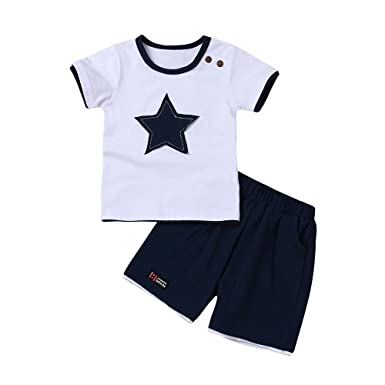 ab1140a4260f Malloom® Baby Outfits Set, 2018 New Summer Children Boy Stars Embroidery Short  Sleeve T Shirt+Shorts Pants Set: Amazon.co.uk: Clothing