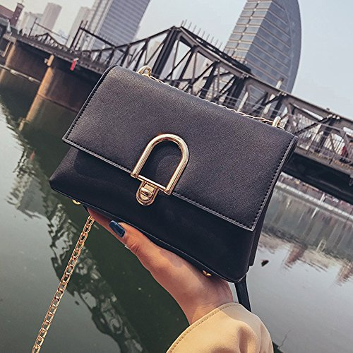 Cross Shoulder Bag Bags Black Bags Woman body Closure Chain Bags Messenger Pu Womens Office Pdfgo Buckle Small WRp6XqSp
