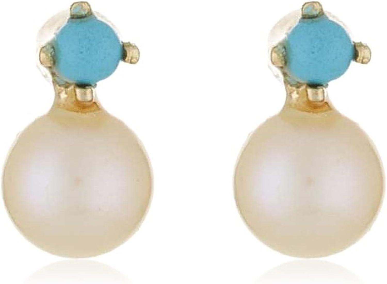 Córdoba Jewels | Pendientes en oro de 9 Kt. Diseño Turquesa y Perla. Talla bebé. Medida: 7 x 3 mm