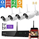 XMARTO Wireless Security Camera System 8CH 1080p NVR 4pcs 1.3MP Wireless Security IP Cameras, 1TB Hard Drive (Built-in Router, Plug N Play, Mobile View, Night Vision, supports 4 more Add-on Cameras)