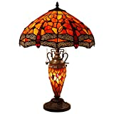 Tiffany Style Table Lamp 24 Inch Tall 3 Light Pull Chain Red Dragonfly Stained Glass Lampshade Beside Desk Lamp Antique Base for Living Room Coffee Table Bedroom S036 WERFACTORY
