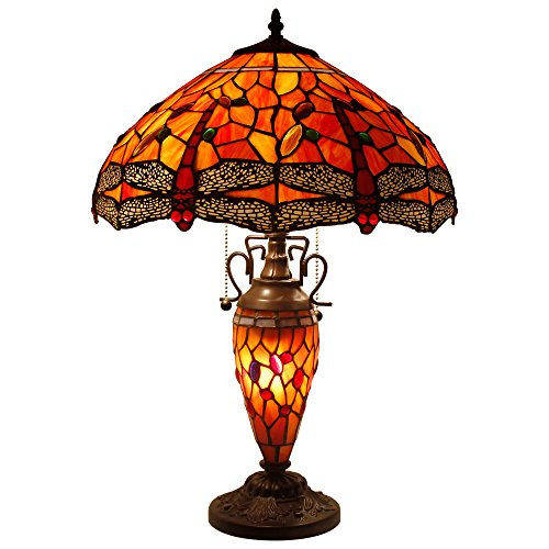 Stained Glass Lamp 3 Light Pull Chain 24 Inch Tall Tiffany Style Dragonfly Table Lamps Beside Desk End Table Lamp Antique Base for Living Room Coffee Table Bedroom S036 WERFACTORY Dragonfly Tiffany Style Table