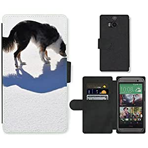 Super Stella Cell Phone Card Slot PU Leather Wallet Case // M00148494 Dog Shadow Animal Australian Shepard // HTC One M8