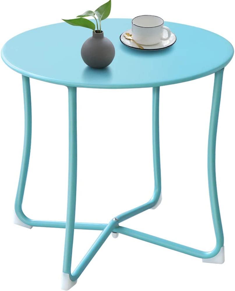 Outdoor Side Tables for Patio End Table Weather Resistant Small Round Coffee Table Steel Port Table Rustic Metal Patio Tables Light Blue