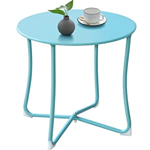 Camabel Outdoor Side Tables for Patio End Table Weather Resistant Small Round Coffee Table Steel Port Table Rustic Metal Patio Tables Light Blue