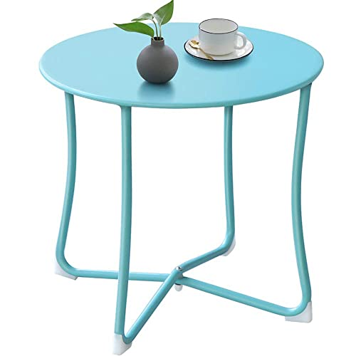 Metal Patio Side Table 18 x 18 Heavy Duty Weather Resistant Anti-Rust Outdoor End Table Small Steel Round Coffee Table Porch Table Snack Table for Balcony Garden Yard Lawn, Light Blue