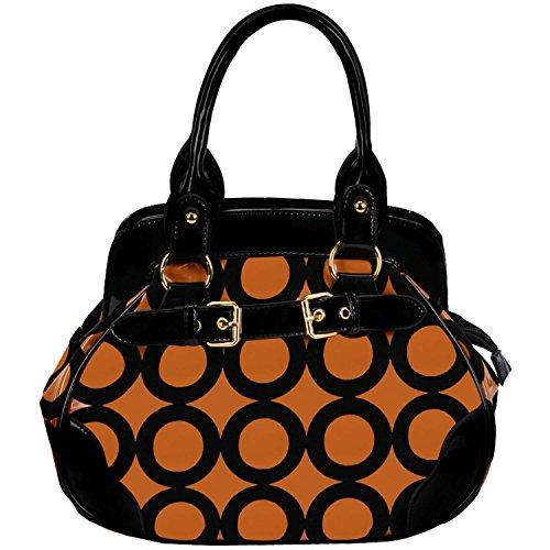 UPC 748698865012, FASH Chic Mod Circle Bowler Hobo Handbag,Copper & Black,One Size