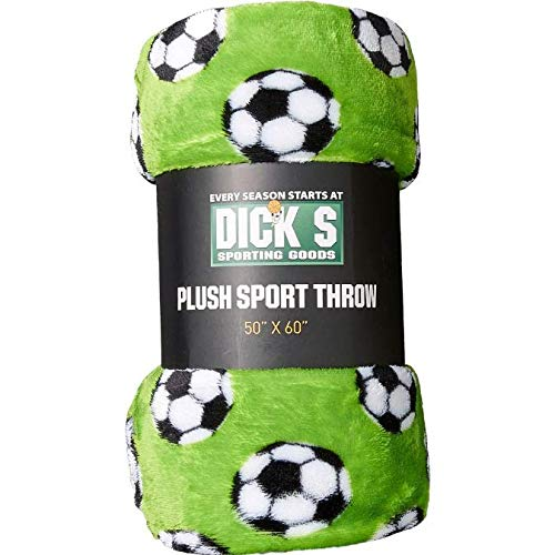 (Dick's Sporting Goods Plush Sport Throw Blanket, Soccer Green)
