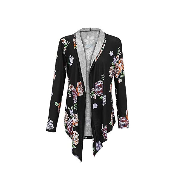 XOWRTE Women's Printing Plus Size Open Fall Jacket Cardigan Blazer Outwear Coat