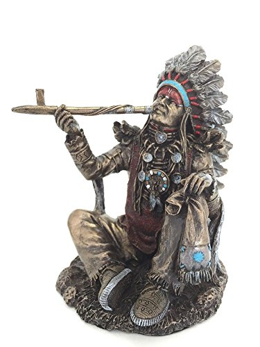 Native American Indian Chief Smoking Peace Pipe Statue Sculpture - American Home Native
