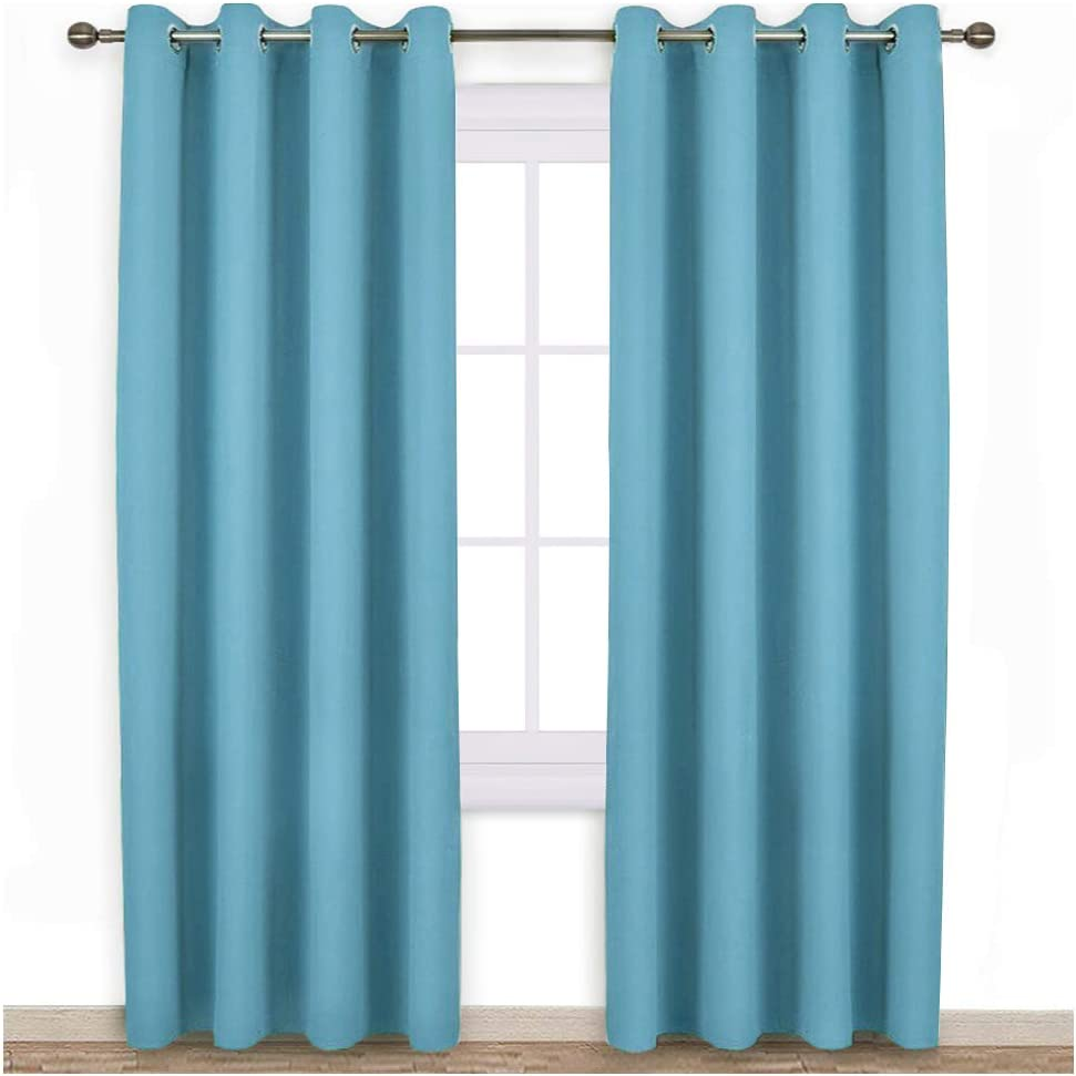 NICETOWN Blackout Curtains Panels for Window - Window Treatment Thermal Insulated Solid Grommet Blackout Drapes for Bedroom (Teal Blue=Light Blue, Double Panels, 52 by 84 Inch)