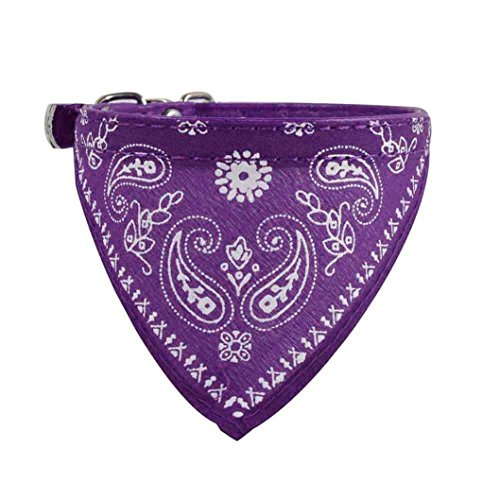 Pet Neckerchief, OOEOO Adjustable Dog Cat Neck Scarf Bandana Collar Puppy Accessories (Purple) - Bandana Dog T-shirt