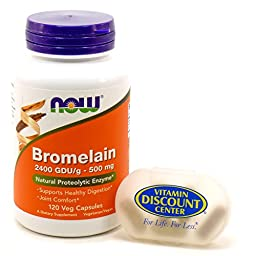 Bundle – 2 Items : 1 bottle of Bromelain 500 mg by Now Foods 120 Vegetarian Capsules and 1 VDC Pill Box